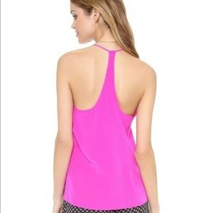 Rory Beca Silk Hot Pink T-Back Split Side Tank Top